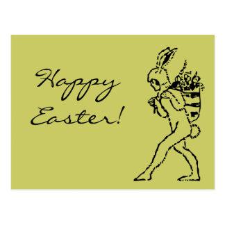 ¡Conejito de pascua del vintage Pascua feliz! Post Postal