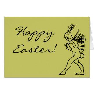 ¡Conejito de pascua del vintage Pascua feliz! Tarj Tarjeta De Felicitación