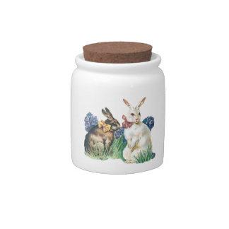 Conejito de pascua del vintage tarro de cerámica para dulces