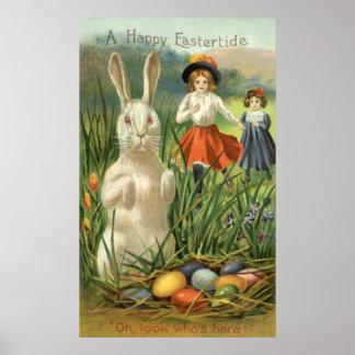 Conejito de pascua del vintage y huevos, póster