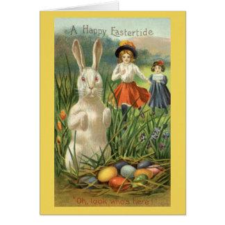 Conejito de pascua del vintage y huevos, tarjeta de felicitación