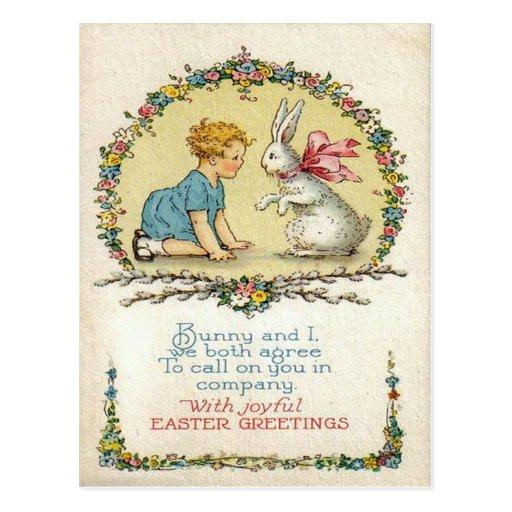 Conejito de pascua del vintage y tarjeta de pascua postal
