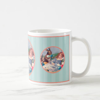 Conejito de pascua del vintage y taza del chica el