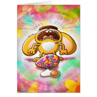Conejito de pascua desesperado tarjeta de felicitación