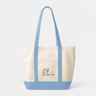 Conejito de pascua feliz bolsa lienzo