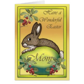 Conejito de pascua feliz con el huevo, para la tarjeta de felicitación