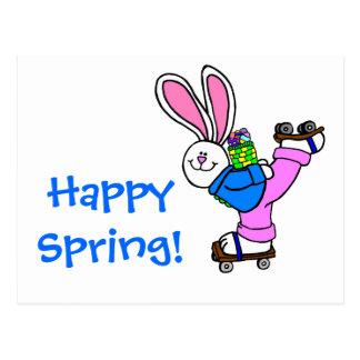 Conejito de pascua feliz del patinaje sobre ruedas tarjeta postal