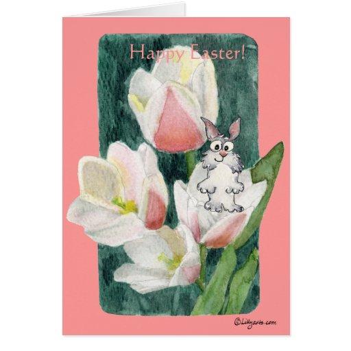 Conejito de pascua feliz en las tarjetas de pascua