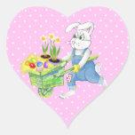 Conejito de pascua feliz pegatinas de corazon personalizadas
