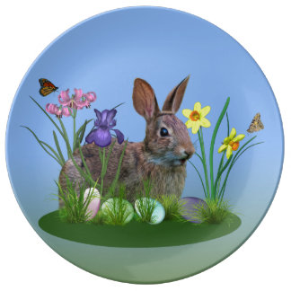 Conejito de pascua, huevos, y flores de la platos de cerámica