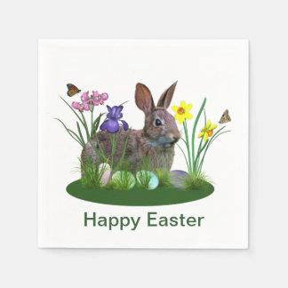 Conejito de pascua, huevos, y flores de la primave servilletas desechables