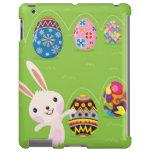 Conejito de pascua juguetón con los huevos pintado funda para iPad
