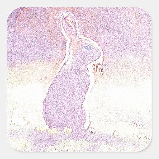 Conejito de pascua lindo del conejo del © P Pegatina Cuadrada