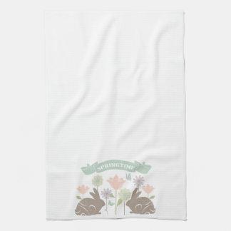 Conejito de pascua moderno del vintage toallas de cocina