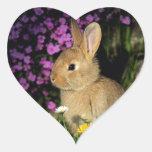 Conejito de pascua pegatina en forma de corazón