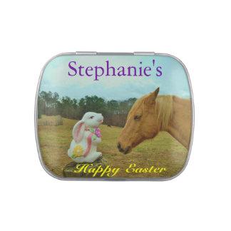 Conejito de pascua y caballo miniatura: personalic latas de dulces