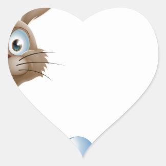 Conejito de pascua y cesta de los huevos colcomanias corazon