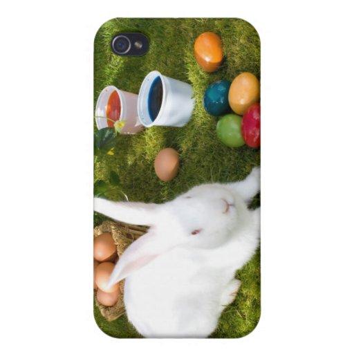 Conejito de pascua y huevos coloreados iPhone 4/4S funda