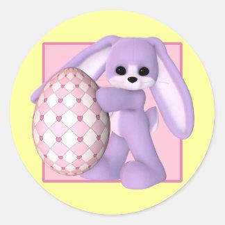 Conejito de pascua y pegatinas gigantes del huevo pegatina redonda