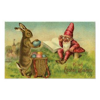 Conejito de pascua y saludo del vintage del gnomo póster