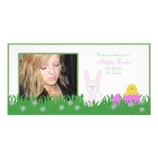 Conejito de pascua y tarjeta felices de la foto tarjetas fotográficas personalizadas