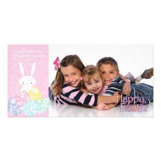 Conejito de pascua y tarjeta rosados de la foto de tarjetas con fotos personalizadas