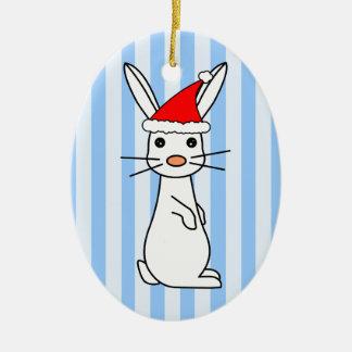 Conejito de Santa - blanco con las rayas azules Adorno De Navidad
