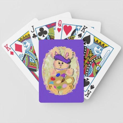 Conejito del artista baraja de cartas