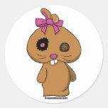 Conejito del BeanBag de Brown Pegatina Redonda