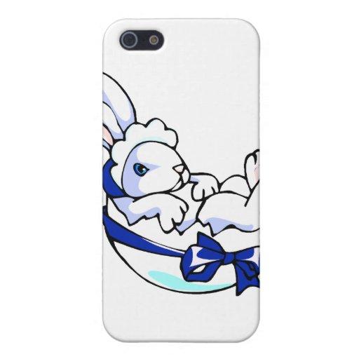conejito del bebé en el huevo ribbon.png azul iPhone 5 cárcasas