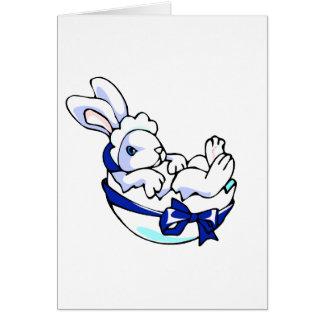 conejito del bebé en el huevo ribbon.png azul tarjeta pequeña