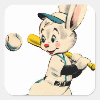 Conejito del béisbol en azul pegatina cuadrada