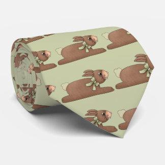 Conejito del chocolate con el arco del verde de corbatas