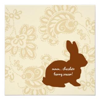 """Conejito del chocolate invitación 5.25"""" x 5.25"""""""