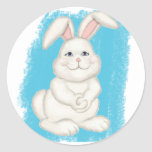 Conejito del conejo de rabo blanco etiqueta redonda