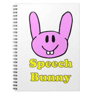 Conejito del discurso en rosa libreta espiral