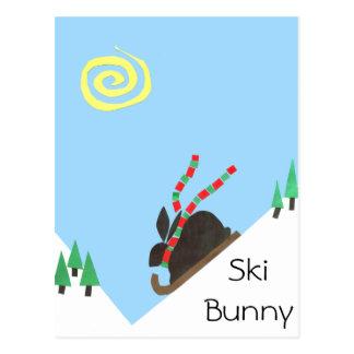 Conejito del esquí postales