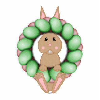 Conejito del moreno y guirnalda colorida de Pascua Esculturas Fotograficas