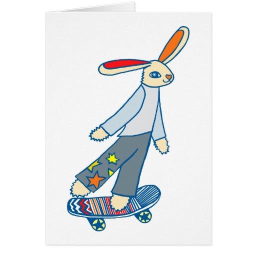 Conejito del patinador tarjeta de felicitación