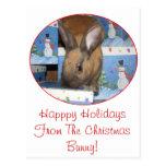 Conejito del regalo del navidad buenas fiestas postales