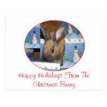 Conejito del regalo del navidad buenas fiestas postal