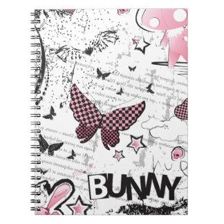 Conejito del rosa del emo de Kawaii Spiral Notebook