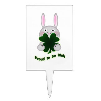 Conejito del St. Patricks orgulloso ser trébol Figura Para Tarta