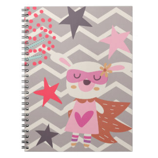 Conejito del super héroe del chica spiral notebooks