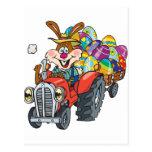Conejito del tractor EasterB18 Postal