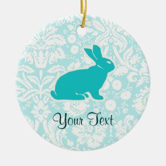 Conejito del trullo adorno navideño redondo de cerámica