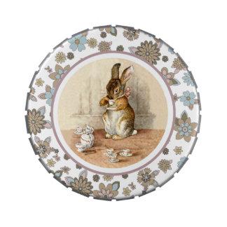 Conejito del vintage de Beatrix Potter. Latas del Frascos De Caramelos
