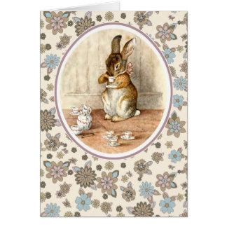 Conejito del vintage. Tarjetas de pascua Tarjeta De Felicitación