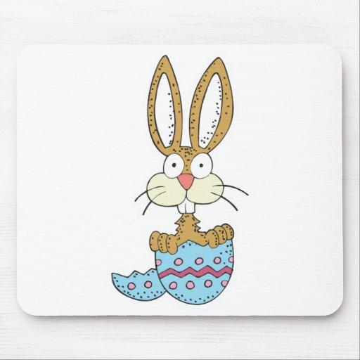 conejito divertido en el huevo de Pascua Tapetes De Ratón