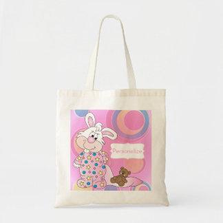 Conejito dulce del bebé con los puntos rosados bolsa tela barata